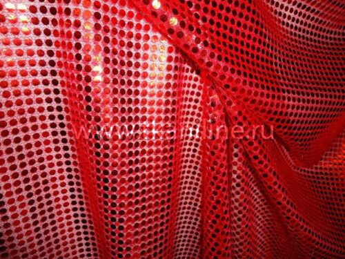 Ткань Пайетки-копейка-красная
