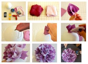 помпоны из лоскутов ткани