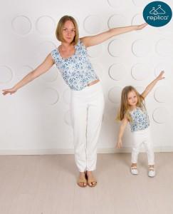 Брюки и топики для мамы и дочки