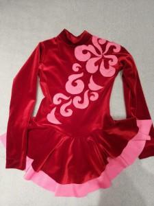 Платье для танцев из бархата розовое