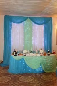 Бирюзовый и мятный шифон для украшения свадебного зала