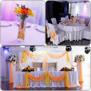 Украшение свадебного зала лентами из ткани