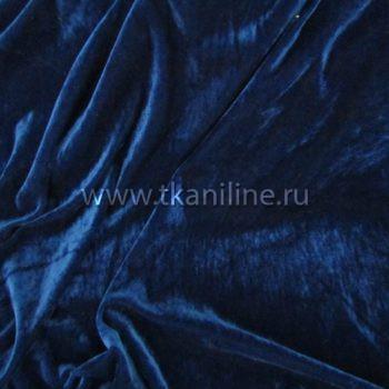 Бархат-стрейч-темно-синий