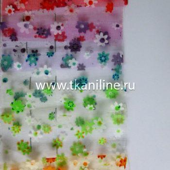 Органза флок цветочки
