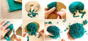 помпоны из обрезков ткани