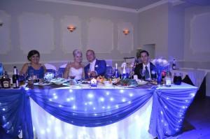 Оформление свадебного зала в синих и голубых оттенках