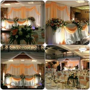 Персиковый цвет в украшении свадебного зала