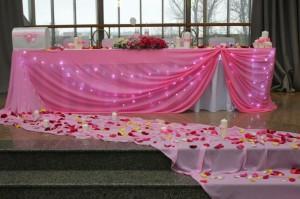 Розовый шифон и лепестки роз в украшении свадебного зала