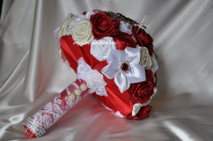 букет невесты из ткани